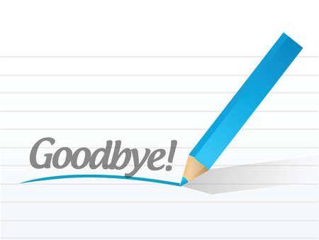 addio: addio scritto su un foglio bianco, illustrazione, disegno Vettoriali