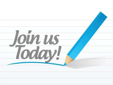 백서 일러스트 디자인에 쓰여진 오늘 우리와 함께하십시오.
