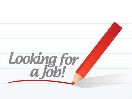 op zoek naar een baan geschreven op een white paper illustratie ontwerp
