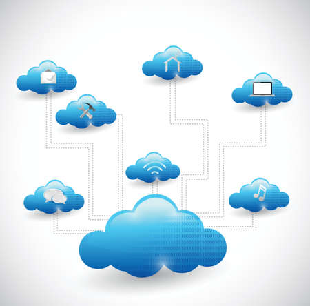 cloud computing network illustration design over a white background Ilustração