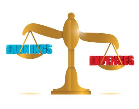 gastos: ingresos y gastos de equilibrio Ilustraci�n de dise�o sobre un fondo blanco Vectores
