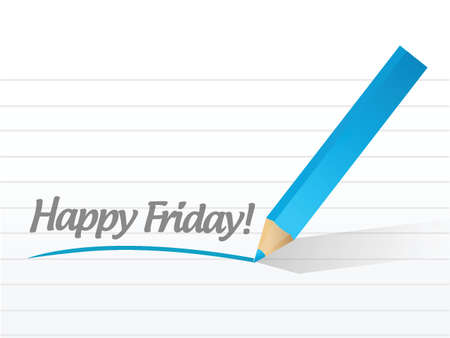 Happy friday written on a white paper. illustration design Vector