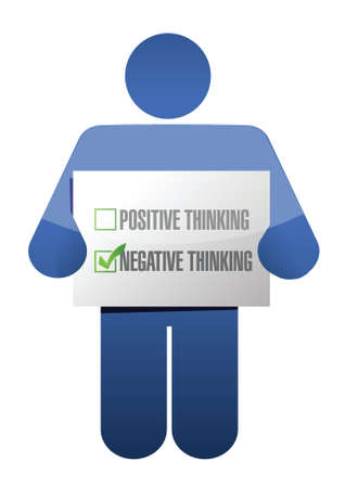 negative thinking: pens�es n�gatives signe la conception d'illustration sur fond blanc Illustration