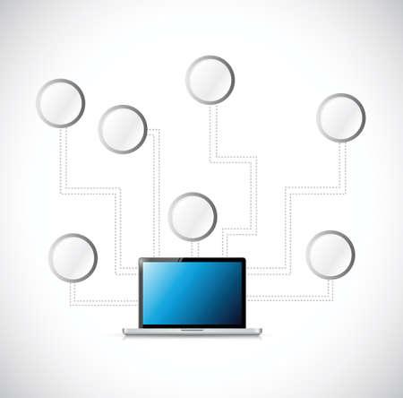 contemporaneous: laptop vuoto diagramma di rete, illustrazione, disegno, sopra, bianco
