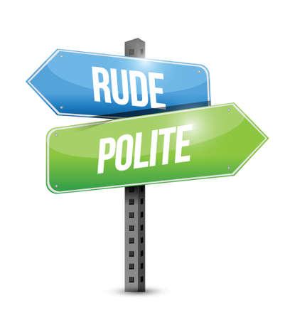 rude versus polite road sign illustration design over white Vector