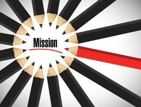 vision mission: Mission word around a set of colors. illustration design over white