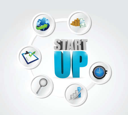 startup step cycle illustration design over a white background 向量圖像