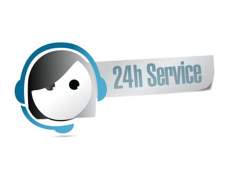 callcenter: 24 hour service customer support illustration design