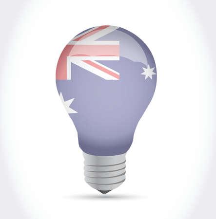 ingenuity: australian flag idea light bulb illustration design over white