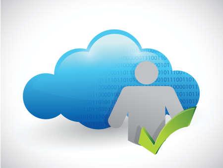 icon check mark cloud computing illustration design over white Stock Vector - 22344479