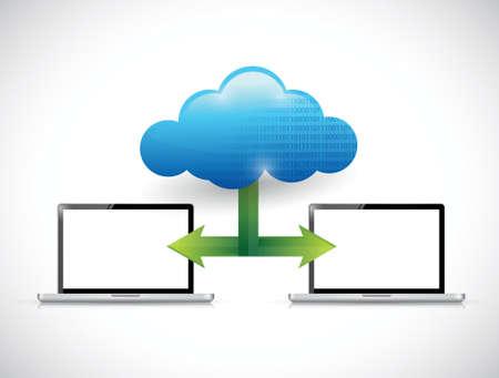 laptop cloud computing network illustration design over white