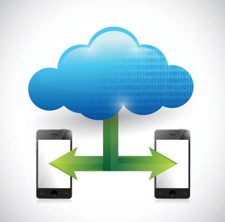 phone cloud computing network illustration design over white Stock Vector - 22344484