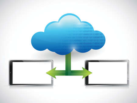 tablet cloud computing network illustration design over white Stock Vector - 22344486