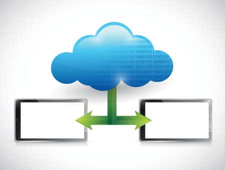 tablet cloud computing network illustration design over white Stock Vector - 22344486