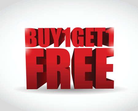 comprar uno y conseguir un texto 3d diseño libre sobre blanco