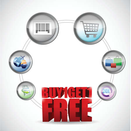 buy one and get one free ecommerce concept illustration design Vector