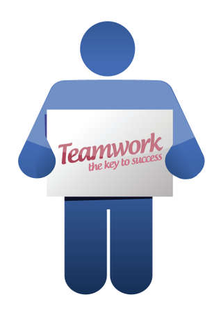 harmonize: icon holding a teamwork sign illustration design over white Illustration
