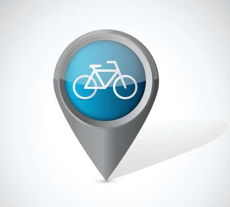 park icon: bike transportation pointer illustration over a white background Illustration