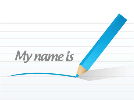 my name is written message on a white paper Vector