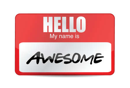 name: Hello I am awesome tag. Illustration design over a white background