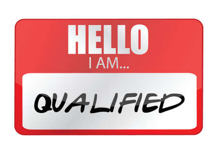 qualified: Hello I am qualified tags. Illustration design over a white background