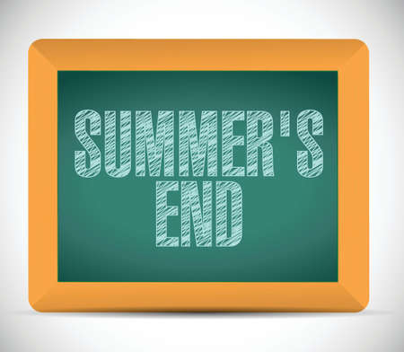 end of summer: summer end message written on a chalkboard. illustration design