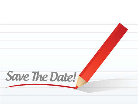 save the date pencil writing over a white paper