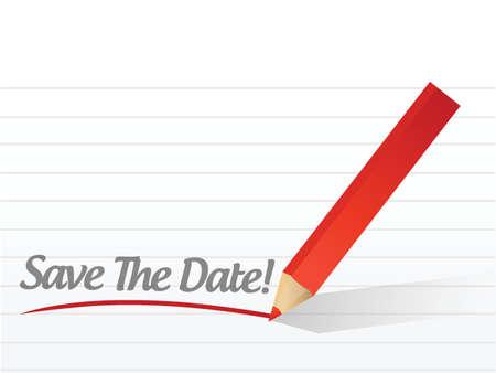 sparen de datum potlood schrijven op een wit papier Stock Illustratie