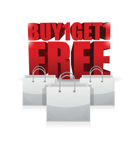 get one: buy one and get one shopping bag illustration design over white Illustration