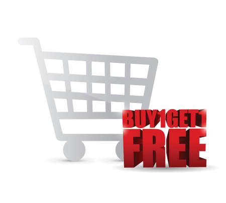 buy one and get one free shopping cart illustration design