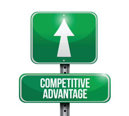 advantages: competitive advantage road sign illustration design over a white background