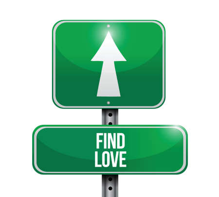 two roads: find love road sign illustration design over a white background