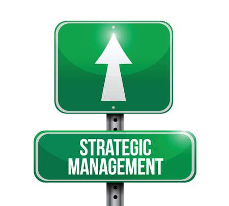 strategic management: strategic management road sign illustration design over a white background