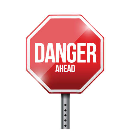 danger ahead: danger ahead road sign illustration design over a white background Illustration