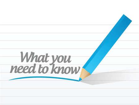 wat je moet weten geschreven op een white paper Stock Illustratie