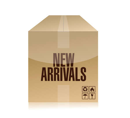 arrivals: new arrivals box illustration design over a white background
