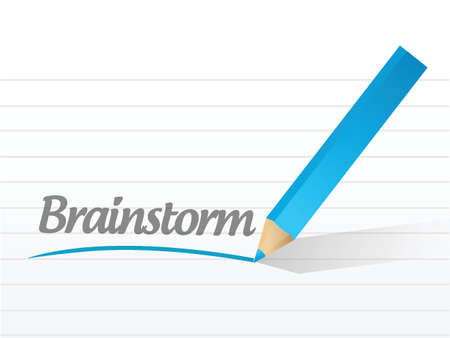 brainstorm written on a white piece of paper Çizim