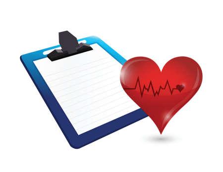 blood pressure monitor: clipboard and lifeline heart illustration design over white