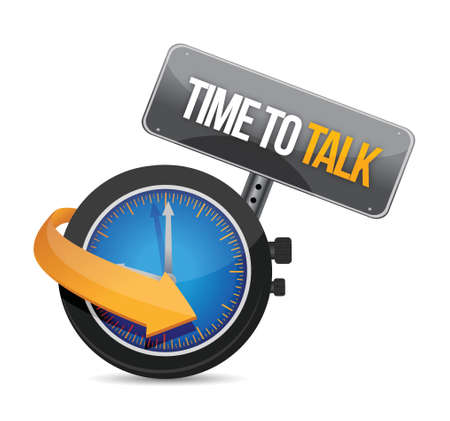 tiempo para hablar ilustración reloj concepto de diseño en blanco Ilustración de vector