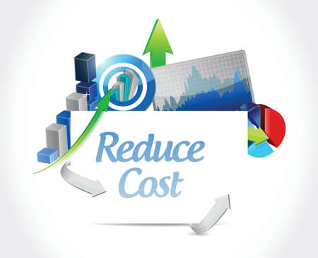 cost reduction: reduce cost business concept illustration design over white