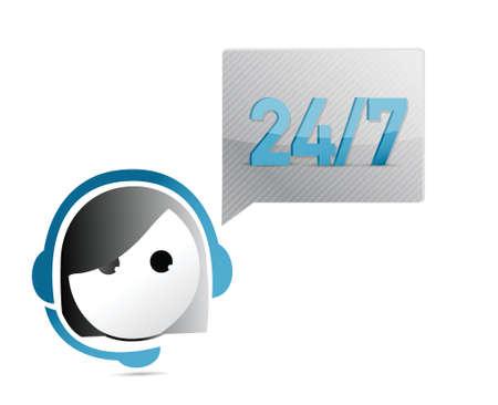 handsfree: 24 7 customer support illustration design  Illustration