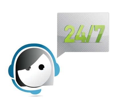 24 7 customer support illustration design  Vector