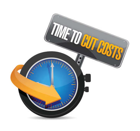 cost reduction: time to cut cost concept illustration design over white