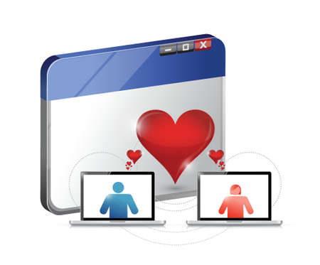 heart monitor: love concept. internet dating illustration design concept over white Illustration
