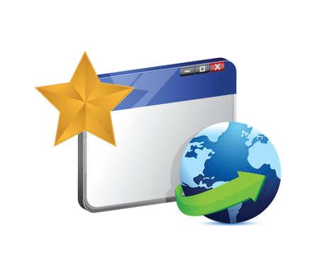 browser globe and star. illustration design over white