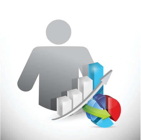 avatar and business graphs avatar illustration design over white Illustration