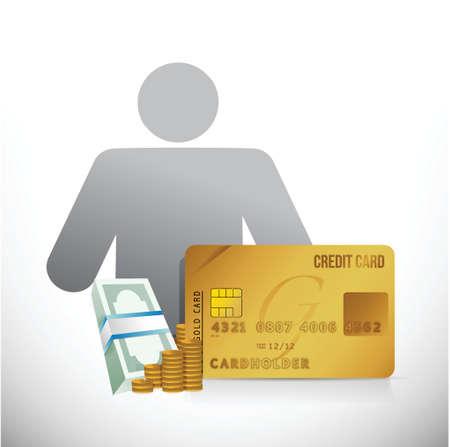 credit card money avatar illustration design over white