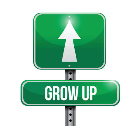 off ramp: grow up road sign illustration