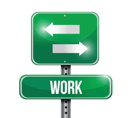 off ramp: work road sign illustration  Illustration