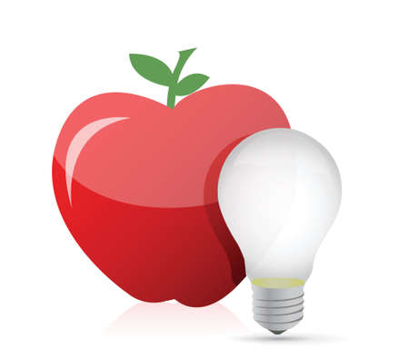 food idea. red apple and light bulb illustration design over white Vector
